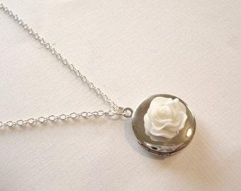 White Rose Locket Silver Round Locket Bridesmaid Locket Bridesmaid Jewelry