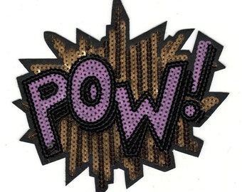 Comic Style Sequin POW Word Iron On Embroidery Patches - DIY Adhesive Iron On Comic Book POW Embroidery Patches - Clothing Iron On Patches