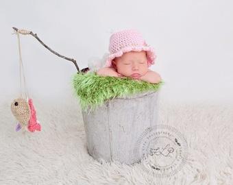 Baby Girl Fisherman Hat, Crocheted Fishing Hat, Baby Fishing Hat, Newborn Photo Prop