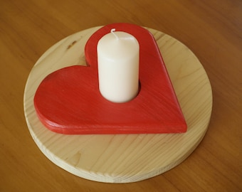 Candle Holder Heart, wood, round, 23 cm through.