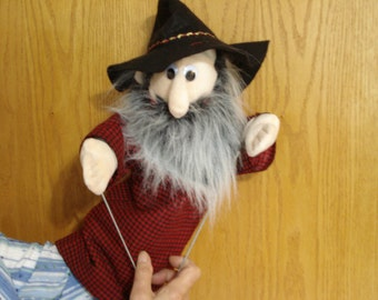 Gramps hand puppet elderly man moveable mouth 2 arm rods