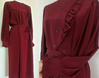 Vintage 80s Burgundy silk Dress by Jack Mulqueen New York Secretary Dress size L