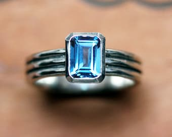 London blue topaz ring silver, emerald cut ring blue topaz, december birthstone ring, modern silver ring, triple band ring, column custom