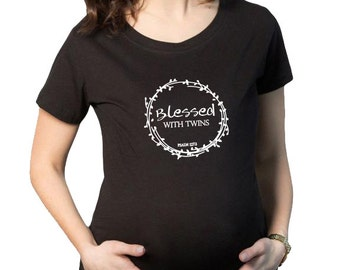 Blessed With Twins Maternity Shirt, Pregnancy shirt, maternity top, pregnancy top, carrying Twins, maternity t-shirt, Twins, Christian Shirt