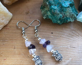 Rose Quartz and Amethyst earrings with owl