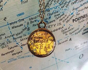 Budapest Map Necklace