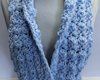 Handmade Baby Blue Blanket Stitch Scarf Sparkling Cowl Crocheted Scarf On Sale Now