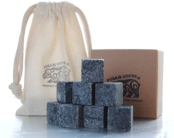 WHISKEY STONES - The Perfect Gift - Whisky Rocks - Scotch Rocks - Soapstone Ice Cubes - Hostess gift for wine and spirits