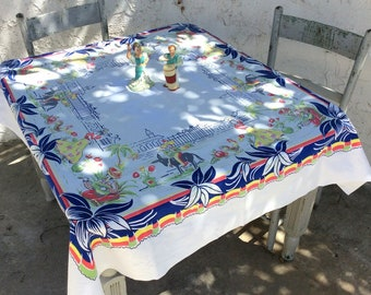 Vintage Mexican Tablecloth Singers & Dancers in the Village Retro Kitchen Southwestern