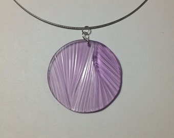 Ripple texture pendant in light purple clear
