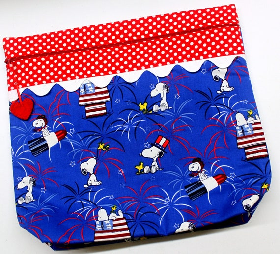 MORE2LUV Patriotic Snoopy Cross Stitch Embroidery Project Bag