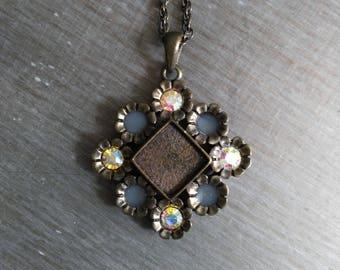 Blackened brass and rhinestone vintage necklace and bracelet set
