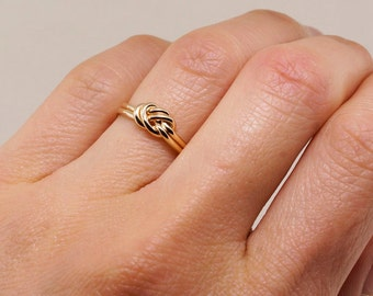 Nautical Gold Ring Gift for Her - Alternative Engagement Ring - Thin Gold Ring - Knot Ring - Promise Ring For Her - Celtic Knot Ring