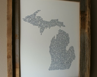 Ann Arbor Michigan College Town - University of Michigan - Word Map (White & Blue) - Unframed