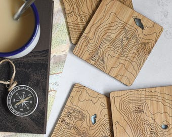 The Torridon Hills Map Coasters: laser etched maps on oak, a gift for walkers, hikers, dads & groomsmen