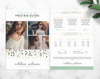 Price List Template - Photoshop template - Pricing Guide - Marketing - Branding - Photography Template - Salon Price List - Instant Download