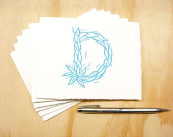 Letter D Stationery - Personalized Gift - Set of 6 Block Printed Cards