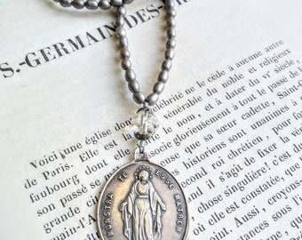 Antique sterling silver Madonna pendant necklace