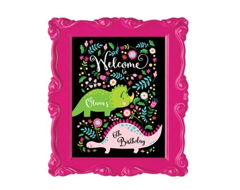 Dinosaur Welcome Sign, Pink Dinosaur Party Sign, Welcome Sign - Printable - Custom Text - Girls Dinosaur Welcome Sign