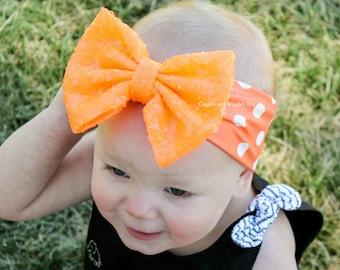 Baby head wrap, orange and white, halloween baby girl headband, infant head wraps, baby bows, polka dot, 1st birthday, orange bow
