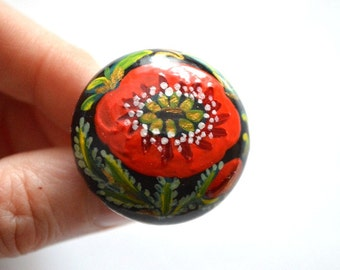 handmade ring|of|wood Ring hand painted ring mom gift ideas|for|her gift ideas|for|women flower ring red ring red poppy paint ring folk ring