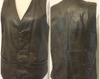 Gray Leather Vest. Wilsons vintage 80's leather