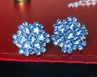 Beautiful Sparkly button earrings sky blue
