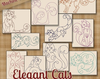 Redwork Elegant Cats Machine Embroidery Patterns / Designs 4x4 and 5x7 Hoop INSTANT DOWNLOAD Outline Kitties Decorative Quilting