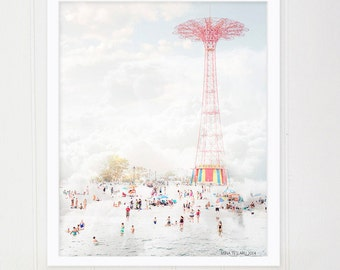 "Large Beach Photography Oversize Art \ Coney Island Photography \ Beach Photography Brooklyn ""Parachute Jump & Beach"""