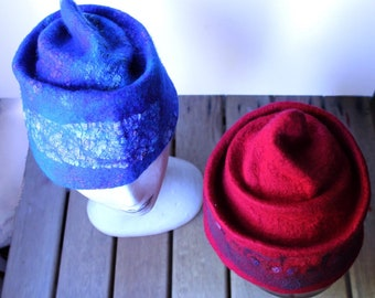 Felted Beanie Hat, Red or Blue or custom order