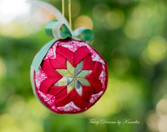 Quilted Christmas ball ornament xmas tree decoration Folded fabric ball ornament Christmas tree decor Xmas gift idea photo studio decoration