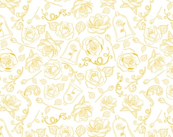 IN STOCK Disney Beauty and the Beast Fabric- The Enchanted Rose Yellow by Camelot 100% Cotton Fabric by the yard  (CA826)