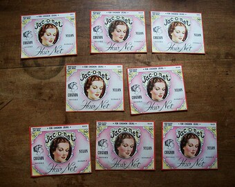 Lot of vintage Jac-O-Net hair net packages retro rockabilly ephemera beauty shop hair do kitsch