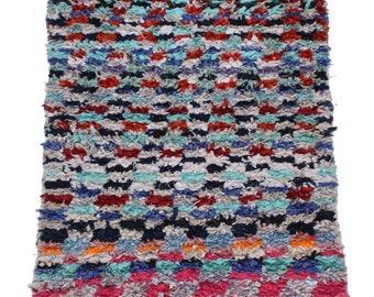 Vintage Moroccan Boucherouite Rug 4' 11 '' by 2' 7'' | Moroccan Rug | Berber Rug | Moroccan Carpet | Marokkanischer teppich