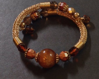 Gold Viking Knit Bangle Bracelet Shades of Brown and Gold Beads, Wrap Bracelet, Wraps 1.5 Times Fits all Sizes Previously 30 Dollars ON SALE