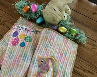 EASTER TABLE RUNNER  . . . Applique Bunnies and Eggs . . . Batik Bunnies . . . Bold Color Eggs