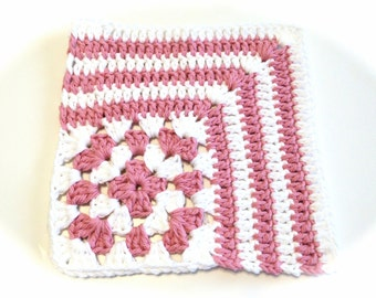 Rose Pink And White Crocheted Square Dish Cloth