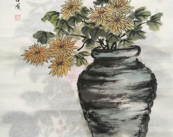 Flower pot black and white simple painting sumi e minimalist ink drawing apartment wall art plant pot painting