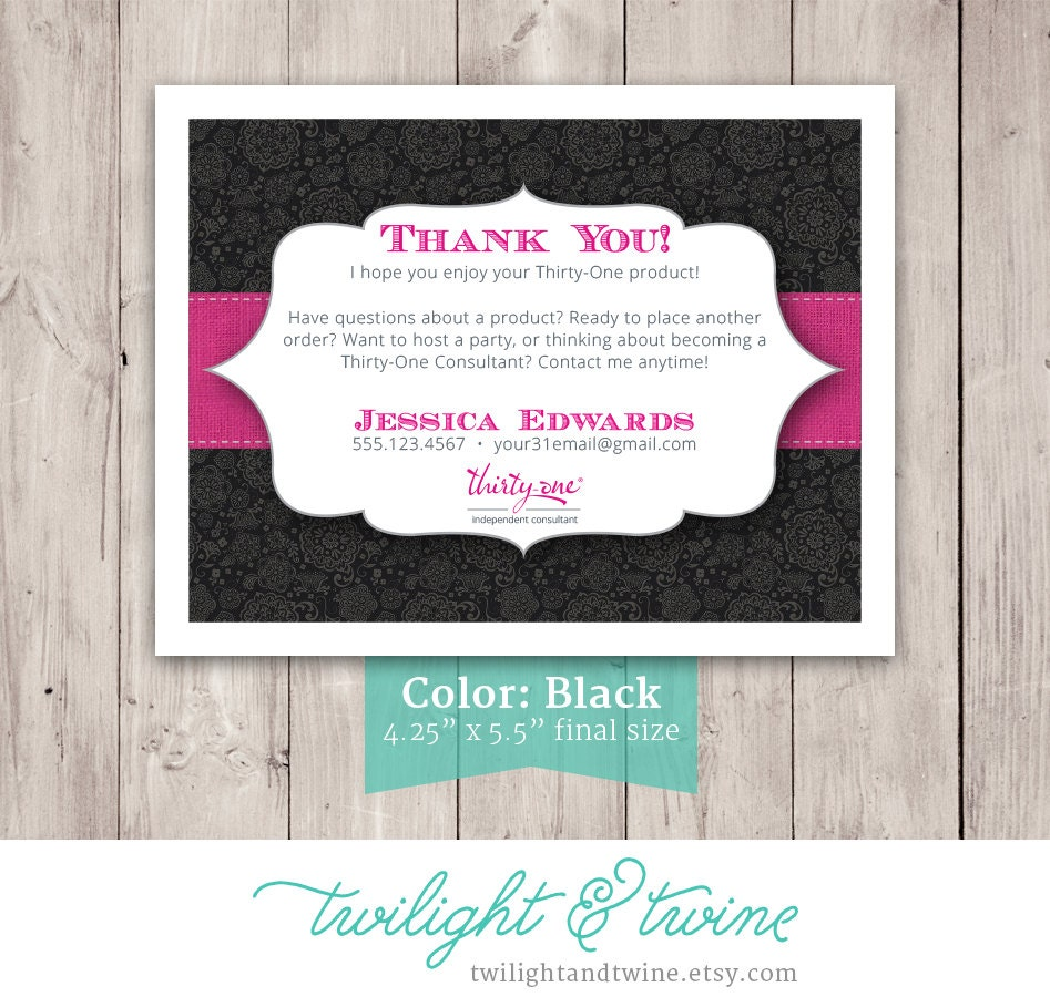 Thirty-one Thank You Card Custom PDF Printable Template