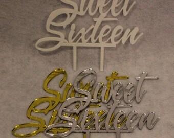 "Sweet Sixteen Birthday Cake Topper - 1/8"" Acrylic"