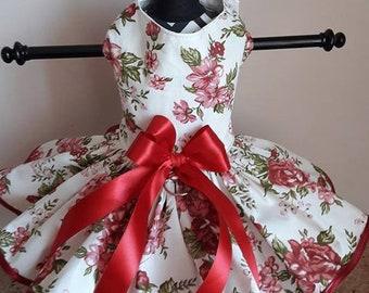 Dog Dress  Burgandy roses with trim