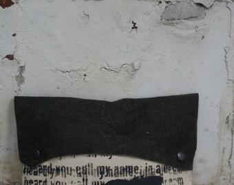Black Leather Clutch Handbag/ Distressed Leather Handbag/Canvas Bag/Pouch/Edgy Bags
