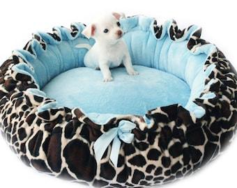 Giraffe Print Minky Pet Bed