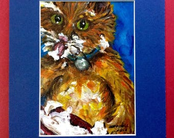 Ginger cat painting, acrylic paint on canvas, original one of a kind painting