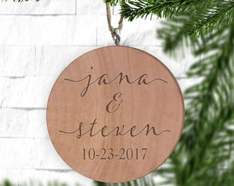 Couples Names with Date Ornament- Personalized Ornament - Engraved Wooden Gift Tag - Engraved Wooden Christmas Ornament