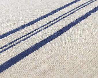 Authentic Vintage European linen fabric about 1900-1920-4 Blue stripe