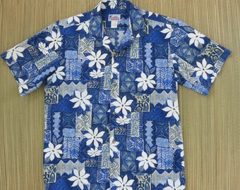 Hawaiian Shirt Men HAWAII Brand Aloha Shirt Tropical Tribal Tiki Tiles Mod Flower Power Funk Beach Party Wear - M - Oahu Lew's Shirt Shack