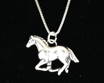 Running Horse Necklace Pendant In Sterling Silver with 18 inch Sterling Chain for 4H FFA or anyone who loves horses.