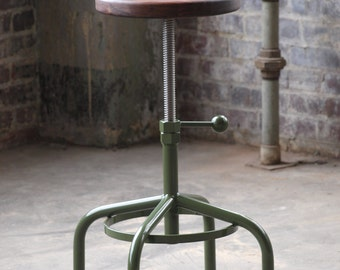 Industrial Stool Walnut Adjustable Drill Press Stool bar stools
