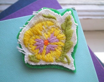 Embroidered Brooch - Yellow Pansy Crewel Embroidery Flower Pin, Floral Fiber Art Garden Jewelry Gift / Shabby Chic Wildflower Nature Brooch